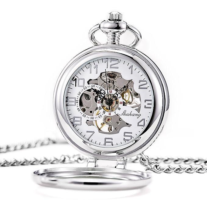 Treweto Steampunk - Reloj de Bolsillo mecánico para Hombre y Mujer, Esfera de Esqueleto Plateada con Cadena + Caja
