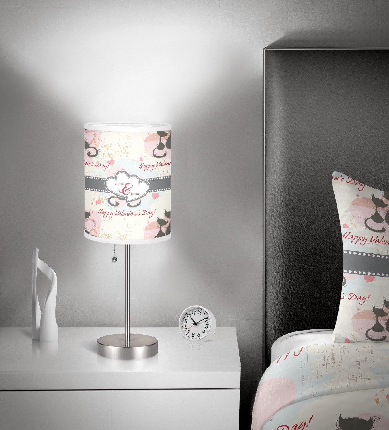 RNK Shops Cats in Love 7'' Drum Lamp with Shade Linen (Personalized) by RNK Shops (Image #2)