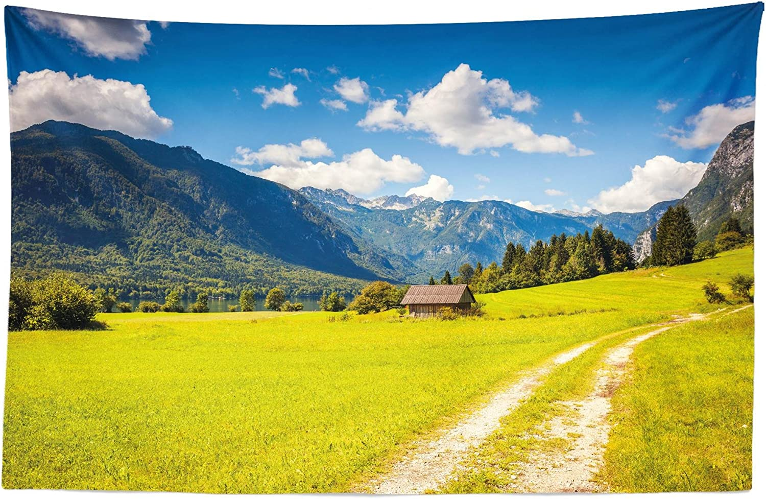 """Lunarable Nature Tapestry, Julian Alps Mountain Valley Rural with Wooden Country House Paradise Picture, Fabric Wall Hanging Decor for Bedroom Living Room Dorm, 45"""" X 30"""", Lime Green"""
