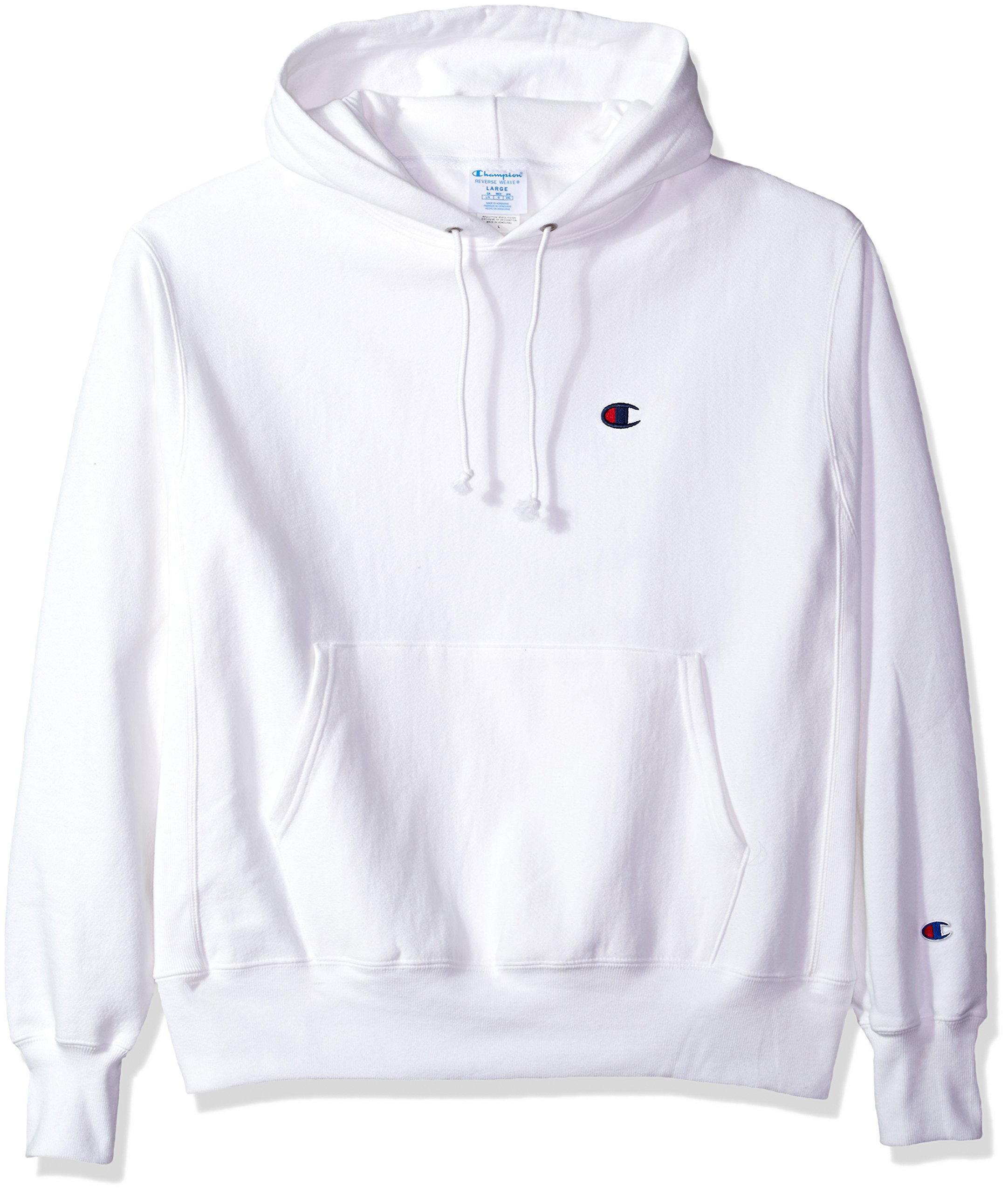 Champion LIFE Men's Reverse Weave Pullover Hoodie, White/Left Chest C Logo, Small
