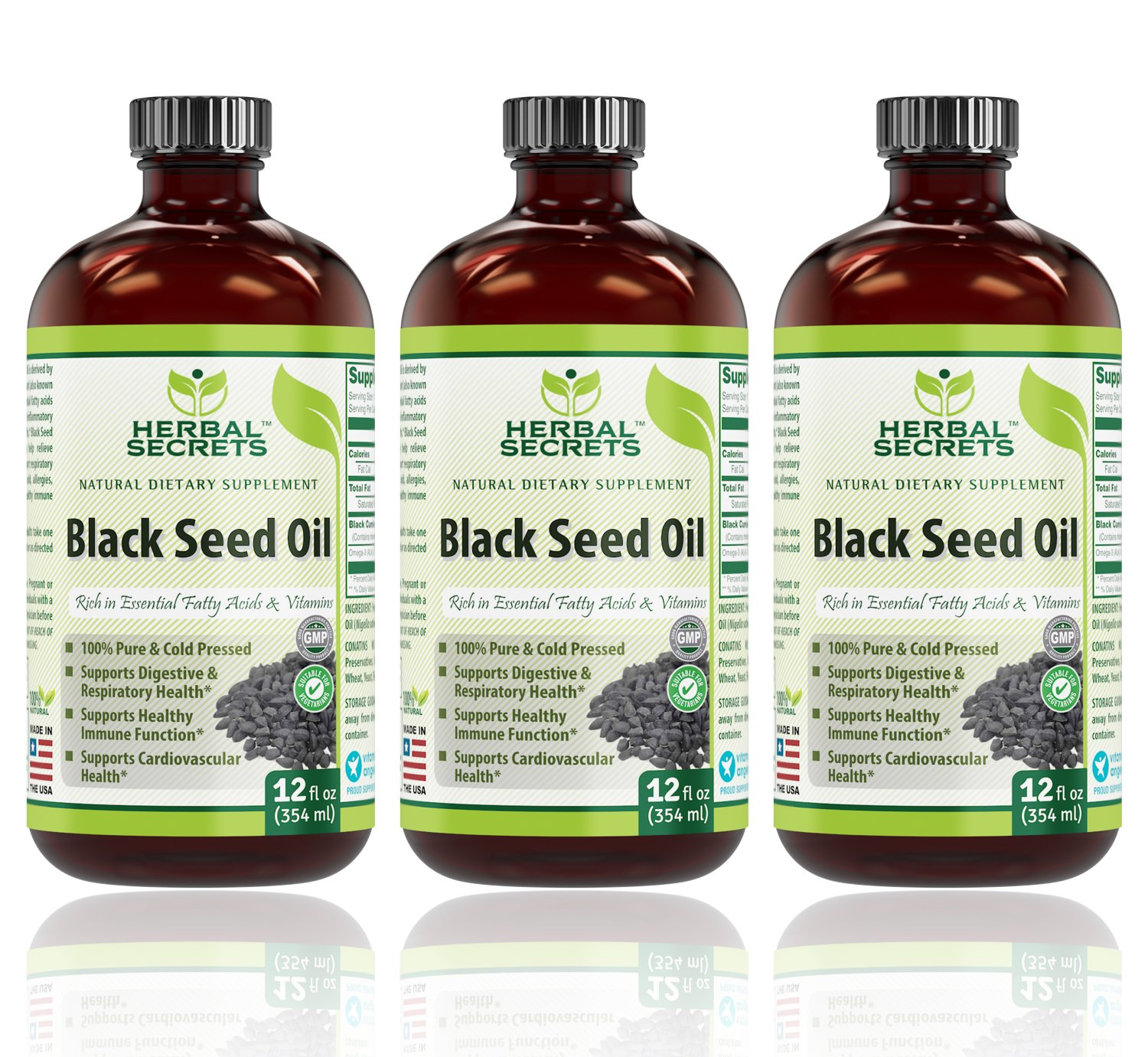 Herbal Secrets Black Seed Oil Natural Dietary Supplement - Cold Pressed Black Cumin Seed Oil from 100% Genuine Nigella Sativa - 16 oz Bottle (3 Pack - 12 Ounce Bottles)