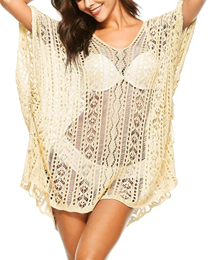 f9b68e1ef3b0 Women's Swimsuit Bikini Beach Swimwear Bathing Suit Cover up Crochet Cover  Ups Dress