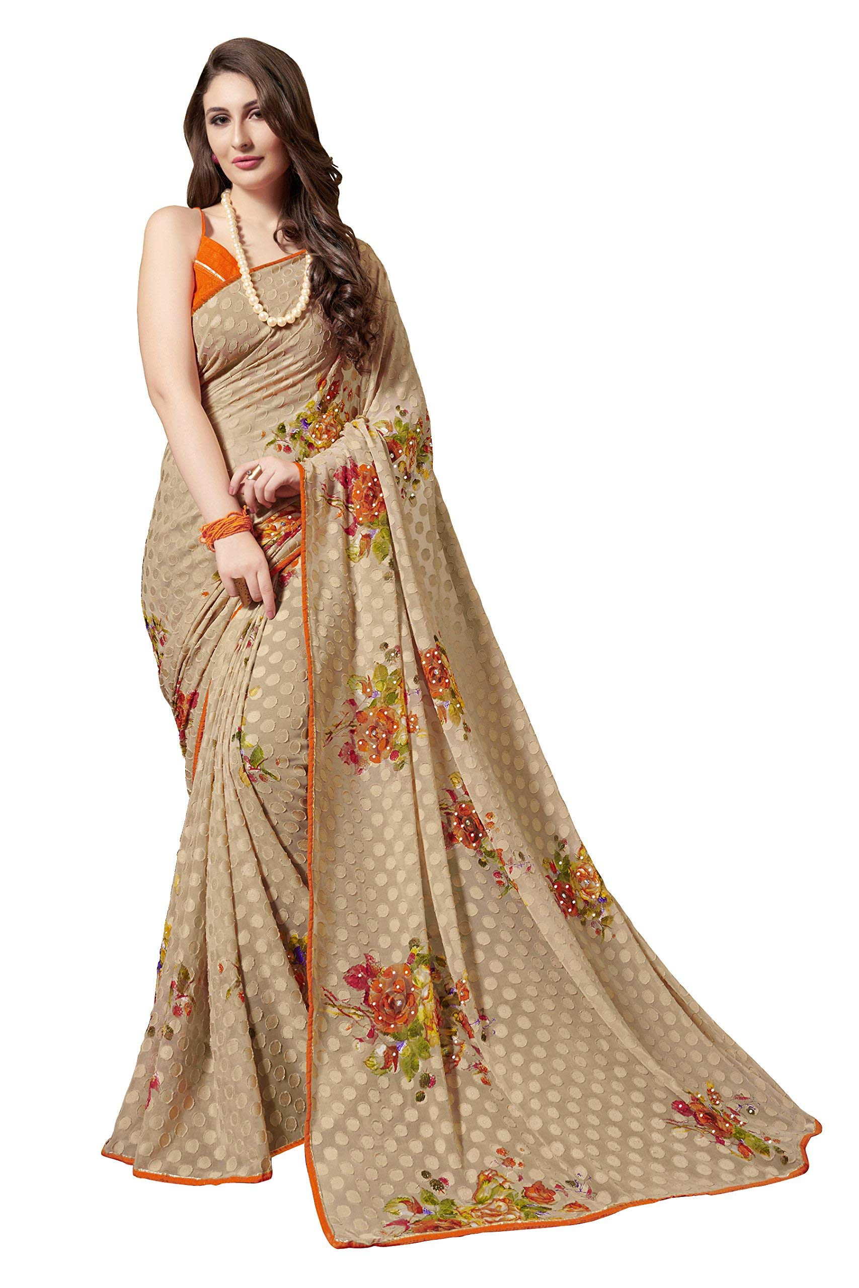 Gaurangi Creation Women's Chiffon Floral Printed Saree with Blouse Piece, Free Size (KLS1007, Beige)