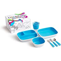 Munchkin Color Me Hungry Splash 7pc Toddler Dining Set – Plate, Bowl, Cup, and Utensils in a Gift Box, Blue