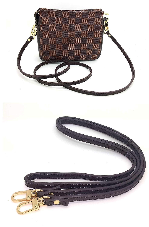 felicie Nelliz Real Leather Mahogany Coffee Dark Brown Crossbody Strap to fit Damier Ebene Pochette accessoires Favorite eva Pouch