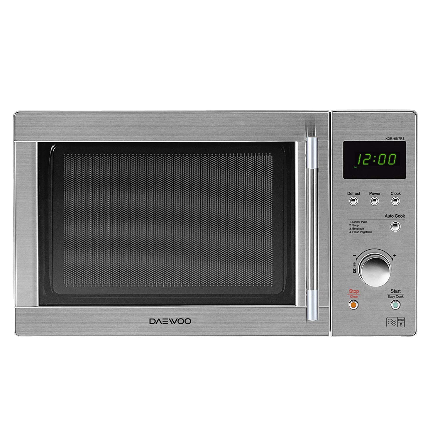 Daewoo KOR6N7RSR Touch Control Solo Microwave Oven, 800 W, 20 liters, Silver