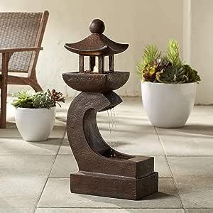 "John Timberland Garden Pagoda 31"" High Rust LED Lighted Outdoor Fountain"