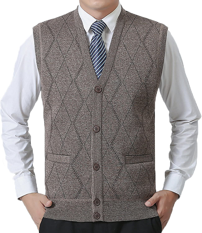 JOKHOO Men's Business Solid Button Knitwear Sweater Vest Sleeveless Knitted Waistcoat