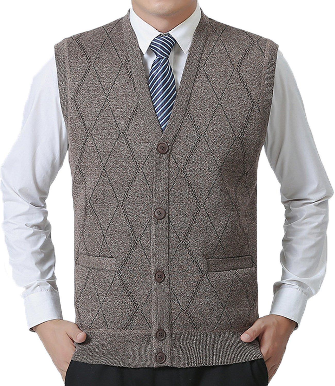 JOKHOO Men's Business Solid Button Knitwear Sweater Vest Sleeveless Knitted Waistcoat (XL, Khaki)