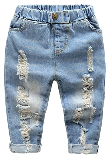 8cafdf4a822 Amazon.com: Ameyda Kids Baby Girls Boys Casual Denim Pants Ripped Jeans  with Holes: Clothing