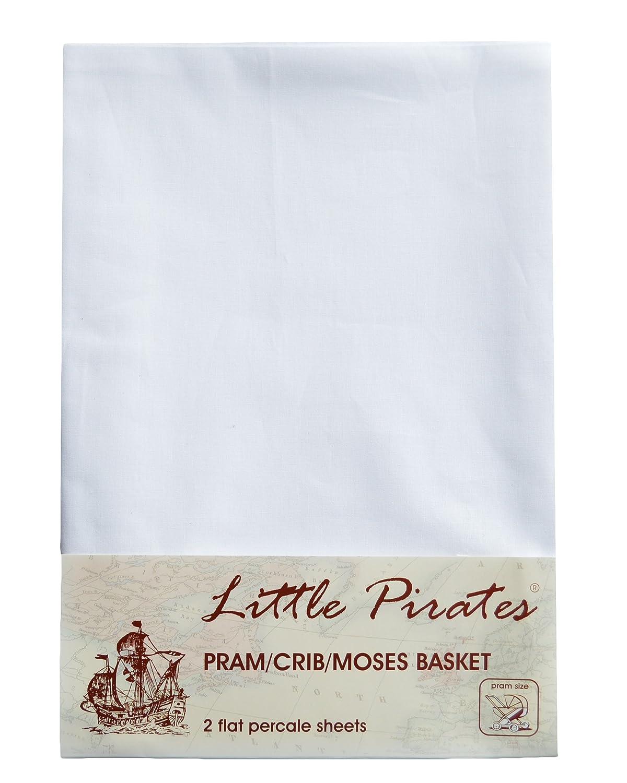 2 x Baby Pram/Crib/ Moses Basket White Flat Sheet 100% Luxury Brushed Cotton Little Pirates