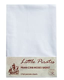 Baby Pram/Stroller/Bassinet/Cradle/ Moses Basket White Flat Sheet, 100% Luxury Brushed Cotton ... by Little Pirates Bobbico Ltd