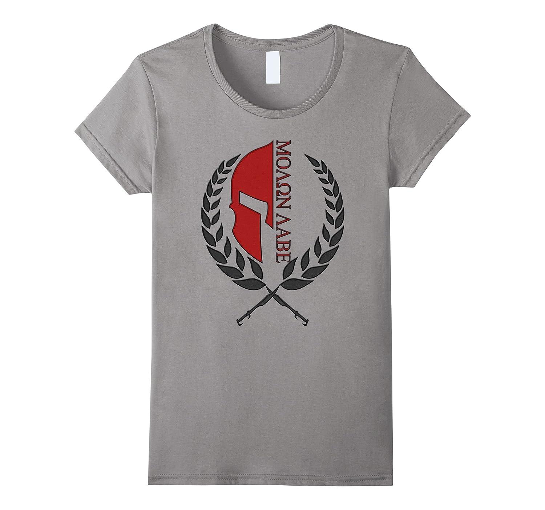 Molon Labe Embroidery look T-shirt – Spartan warrior Tee