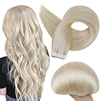 Full Shine Tape In Hair Extensions Human Hair 60 Platinum Blonde Tape Hair Extensions Real Hair 18 Inch Seamless Skin Weft Extensions 50 Grams 20 Pieces