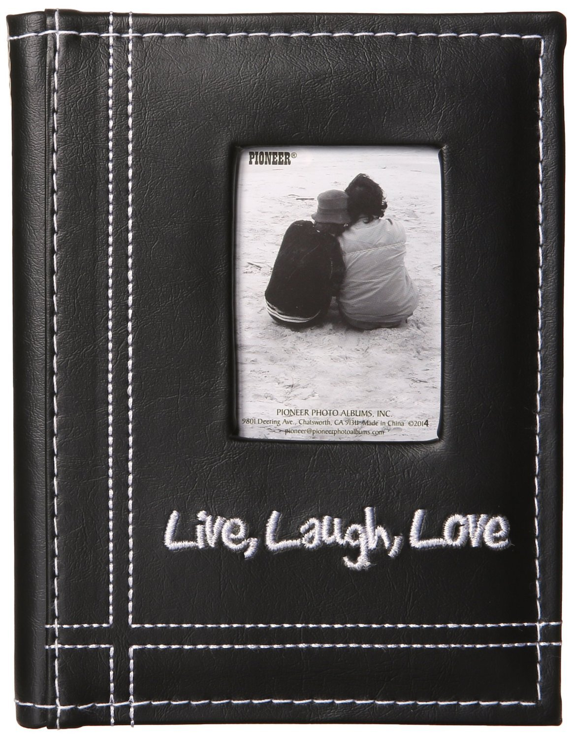 Pioneer LLL46 Live Laugh Love Embroidered Frame Cover Sewn Leatherette Mini Photo Album Black