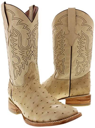 Texas Legacy - Men's Sand Ostrich Quill Print Leather Cowboy Boots Square Toe