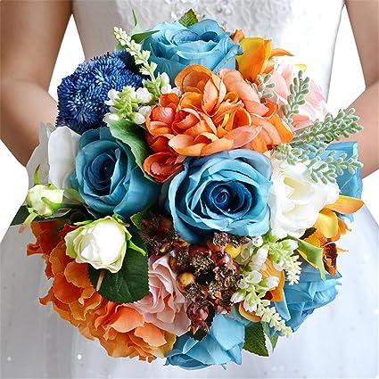 ebb48bd156d Amazon.com  Zebratown 9.9   BLUELOVER Bridal Bridesmaid Bouquets Artificial  Rose Silk Flowers Bouquet Home Wedding Decoration (Royal Blue)  Home    Kitchen