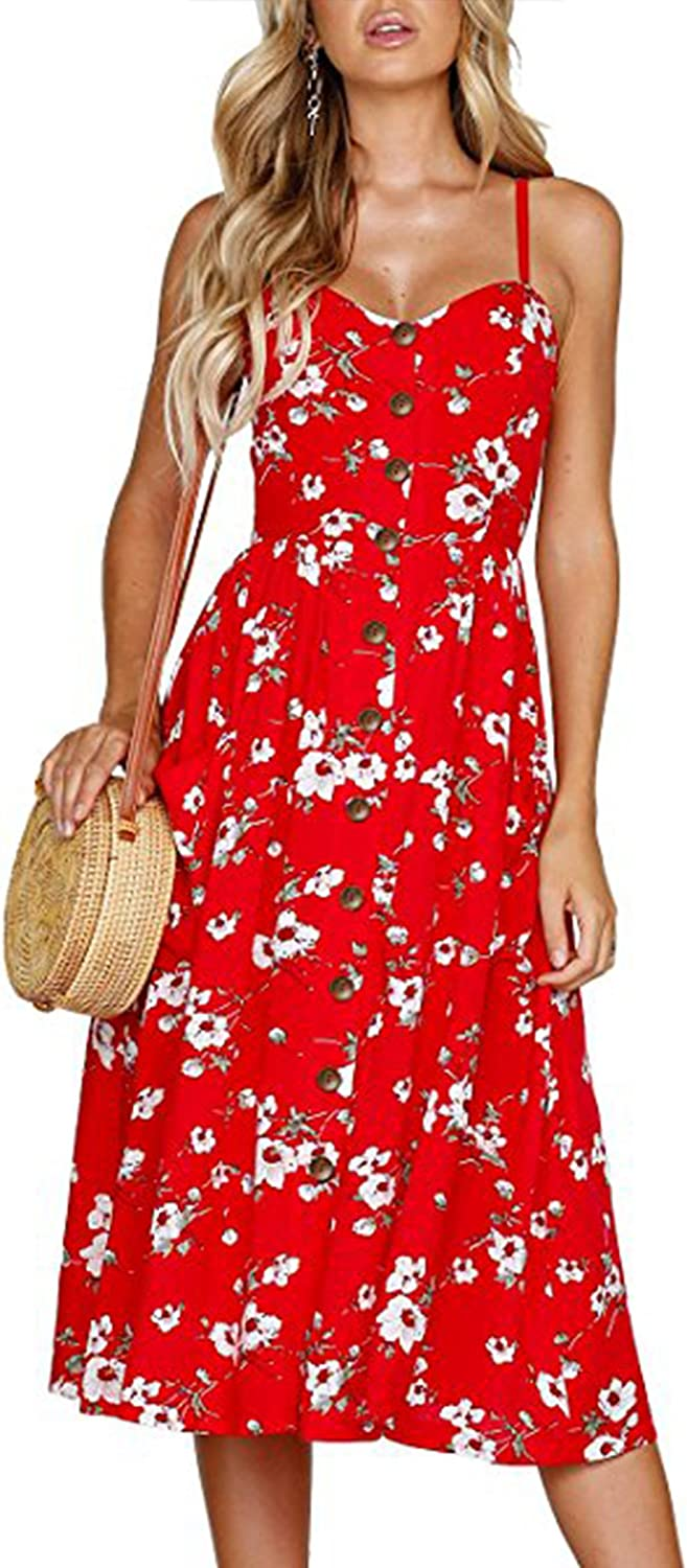 Angashion Women's Dresses-Summer Floral Bohemian Adjustable Spaghetti Strap Button Down Swing Midi Dress with Pockets