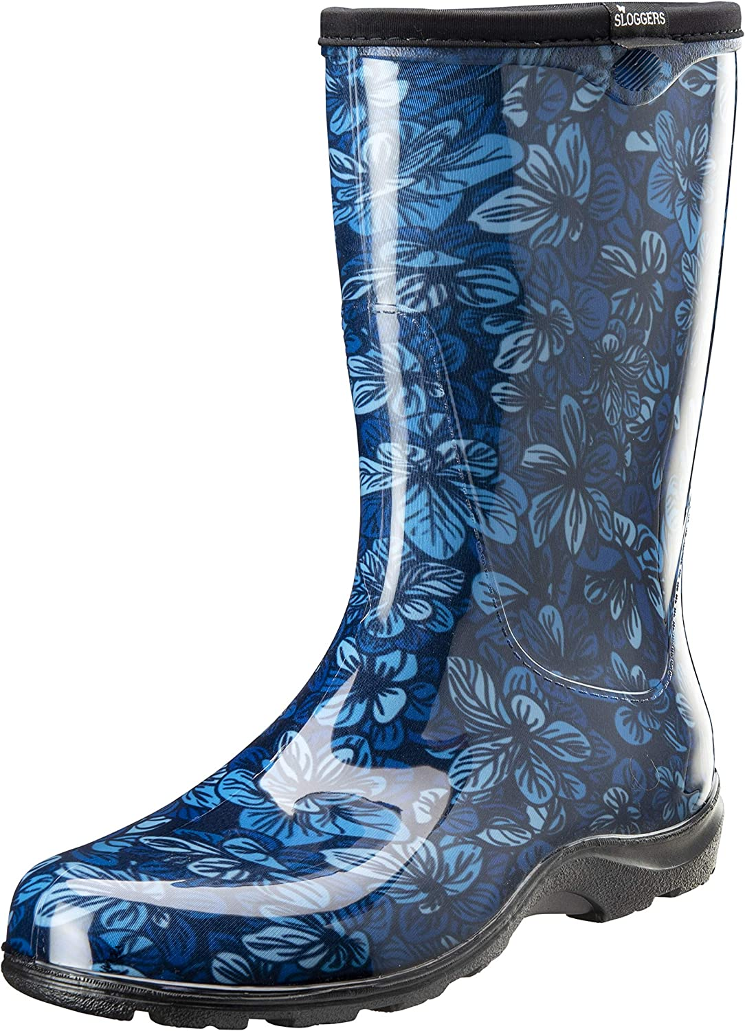 Sloggers Women's Waterproof Rain and Garden Boot with Comfort Insole (7, Blooming Leaves Blue)