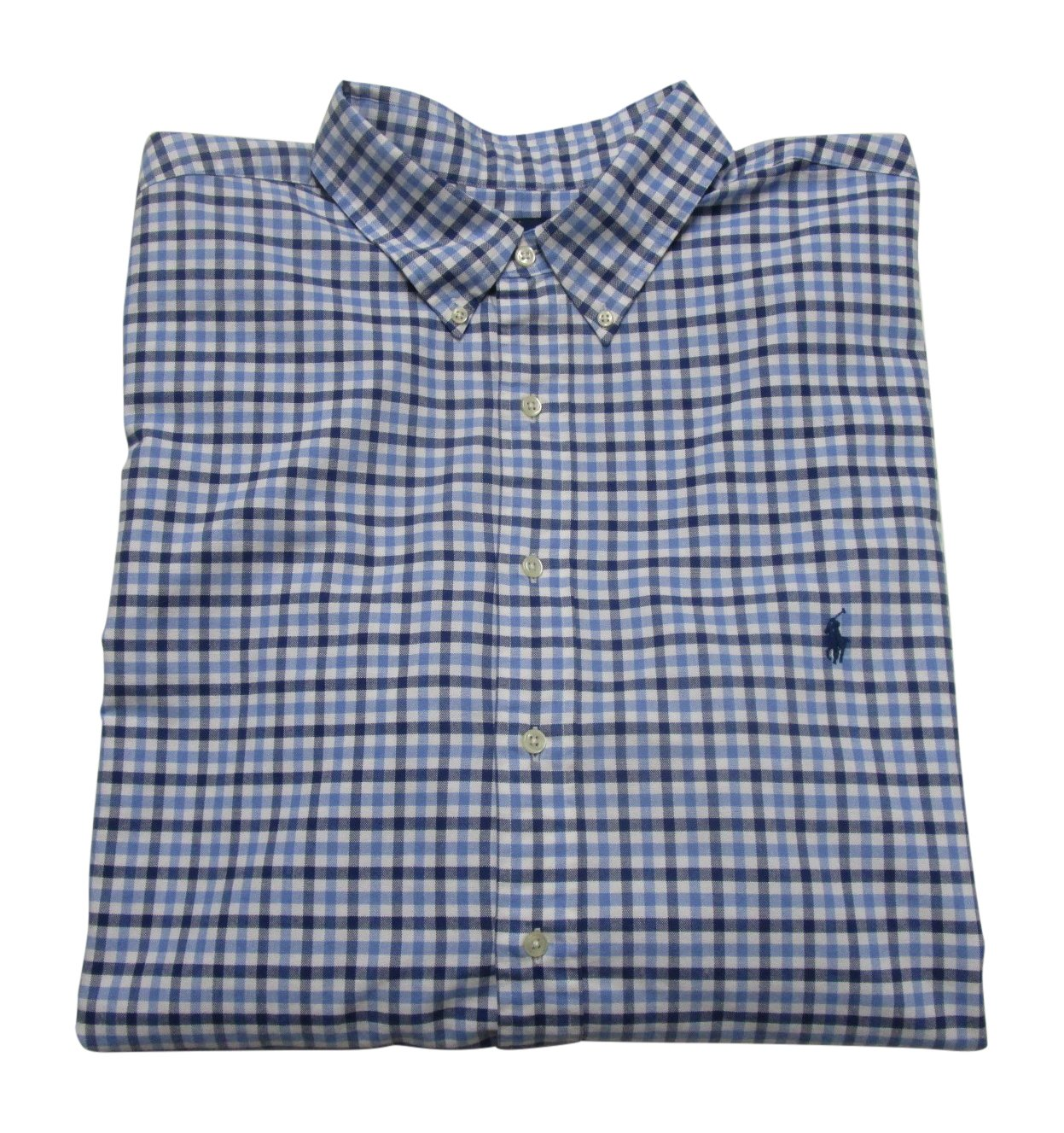 RALPH LAUREN Mens' Big and Tall Long Sleeve Plaid Oxford Sport Shirt (3XLT, Blue/Navy Check)