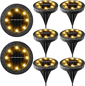 Solar Powered Ground Lights 8 Pack,IP68 Waterproof Outdoor LED Disk Lights for Garden,Non-Slip Landscape Path Lighting for Patio Lawn Yard,Pathway Wear-Resistant Deck Lights Walkway Decor(Warm White)