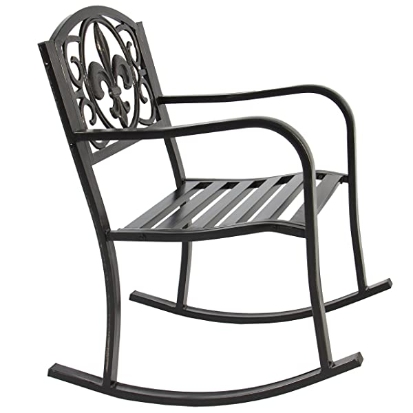 Best Choice Products Metal Rocking Chair Seat for Patio, Porch, Deck, Outdoor w/Scroll Design - Bronze