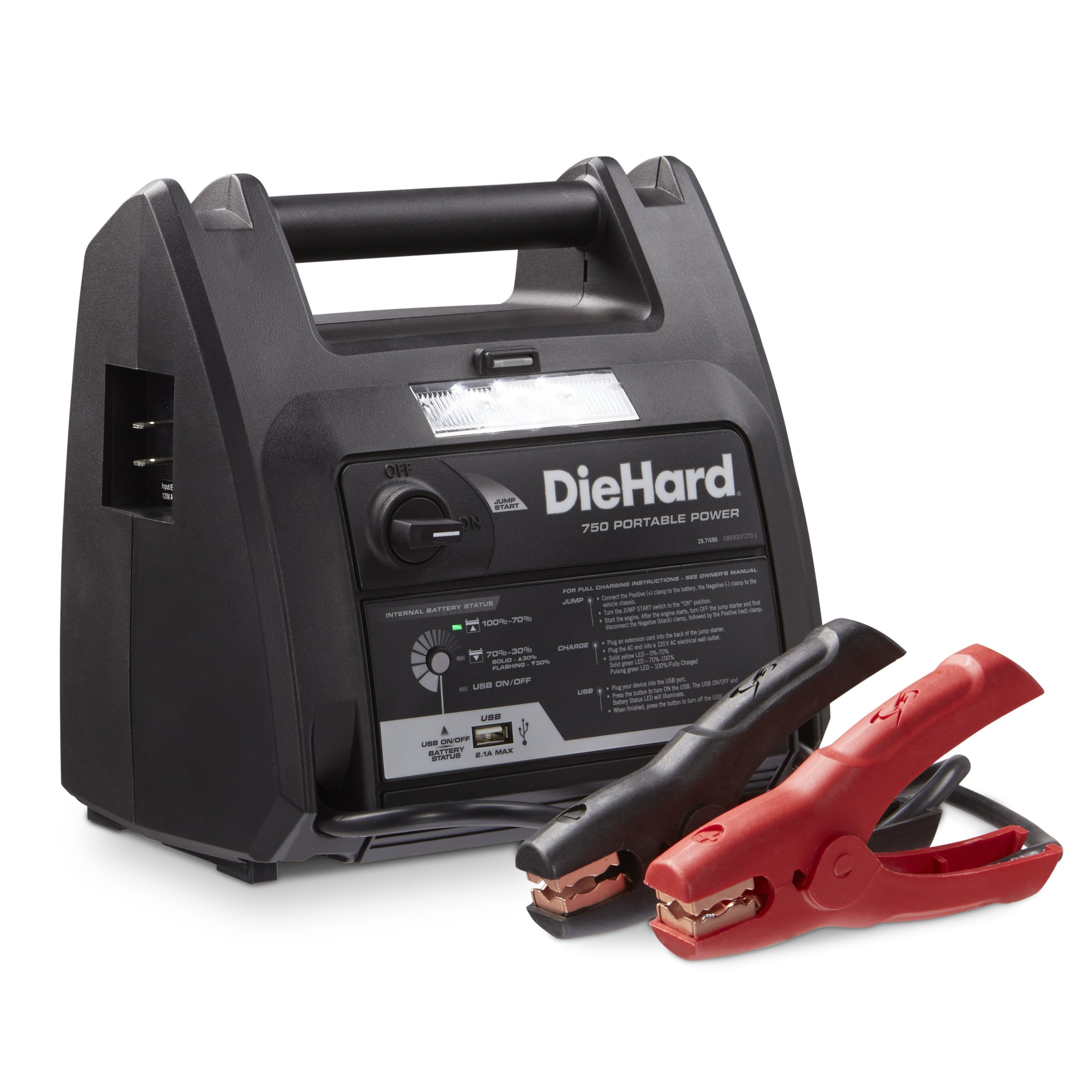 DieHard 71686 Portable Power 750 Peak Amp 12V Jump Starter and Power Source with 1-USB 1-12V Power Port