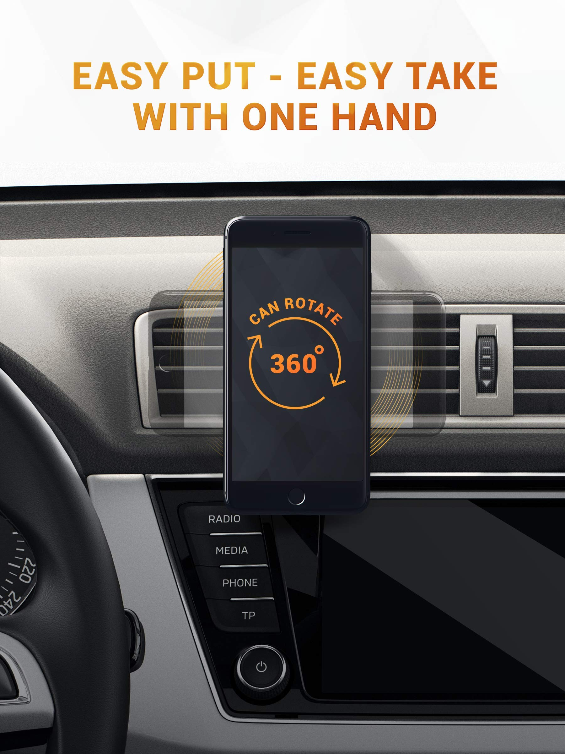 Magnetic Air Vent Car Phone Mount – 2019 Updated Version by HUSSELL – for Any Smartphone – Car Phone Holder – Universal Cell Phone Holder – Vent Phone Holder – Car Vent Mount – Air Vent Mount Holder