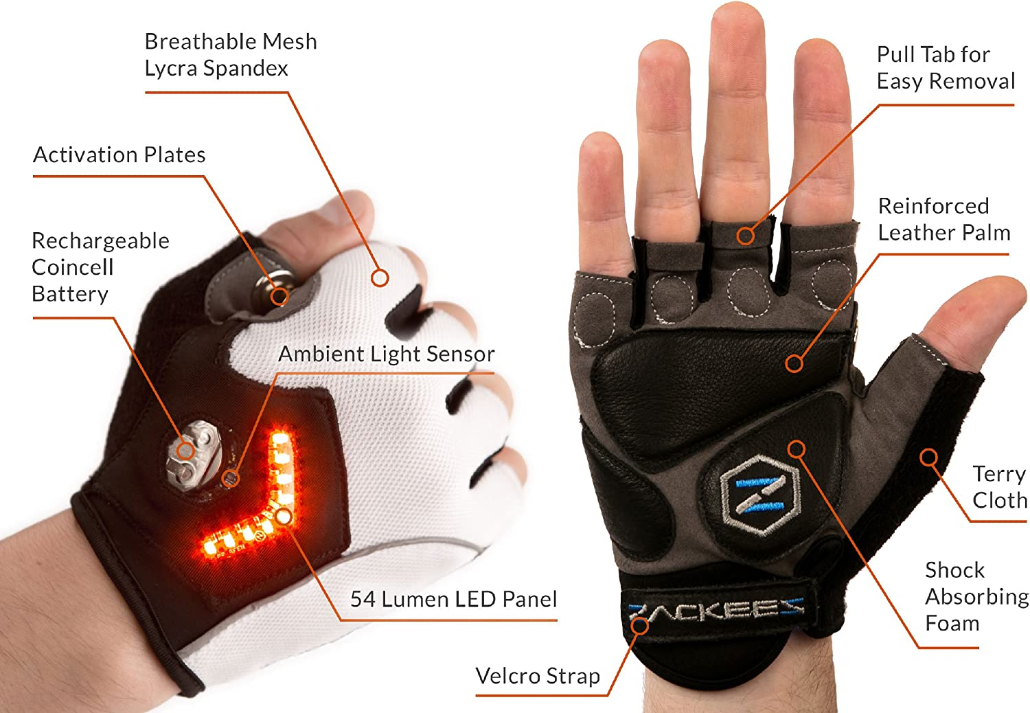 Leather Palms Zackees Award Winning LED Turn Signal Cycling Gloves with 4 Rechargeable Coincell Batteries Charger
