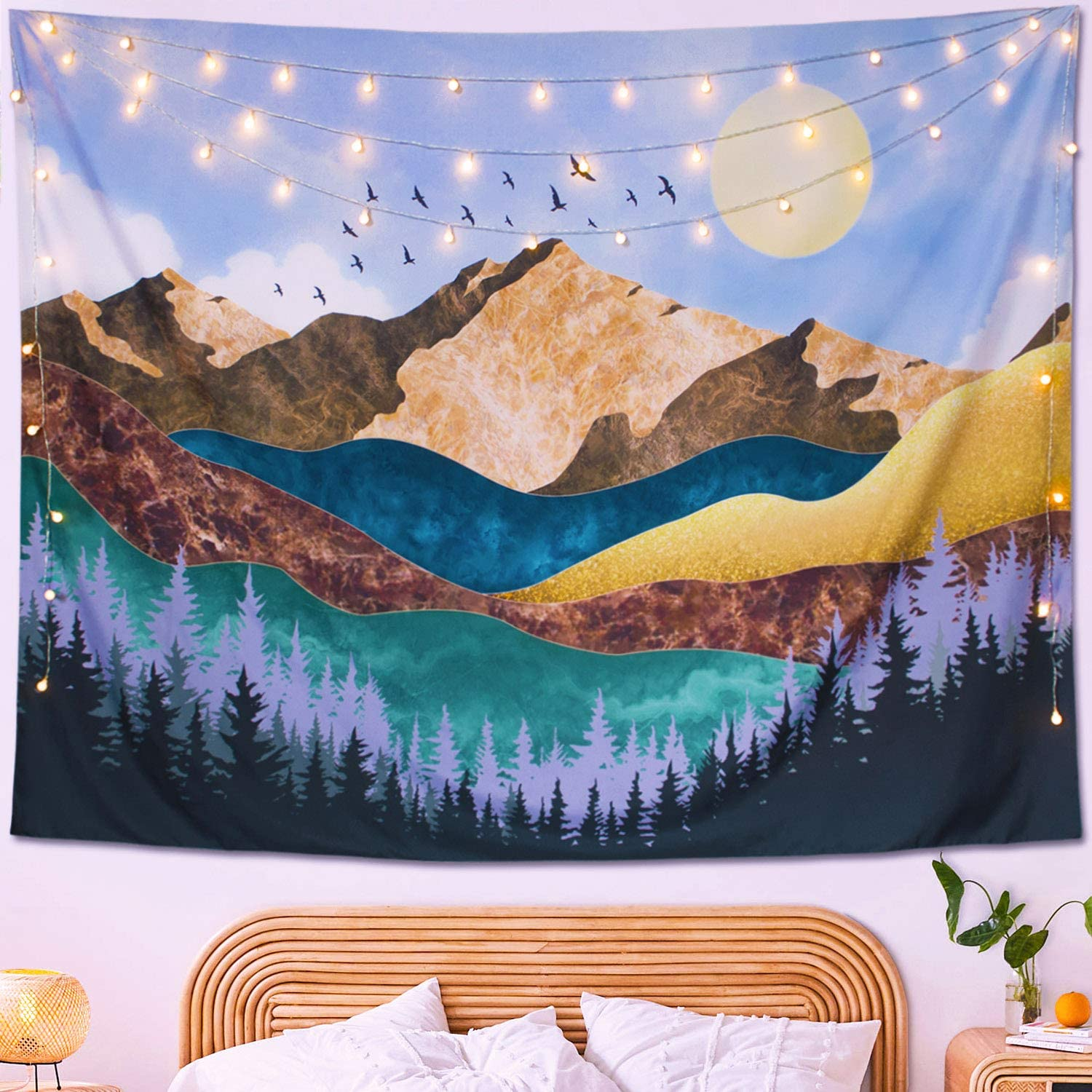 Neasow Mountain Moon Bohemian Tapestry Wall Hanging Tree Forest Nature Landscape Art Tapestries Boho Home Decor Blanket For Room Sunrise Blue 60 80 Inches Everything Else