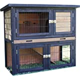 Brunswick Double Story Hutch for Guinea Pigs and Rabbits (Grey)