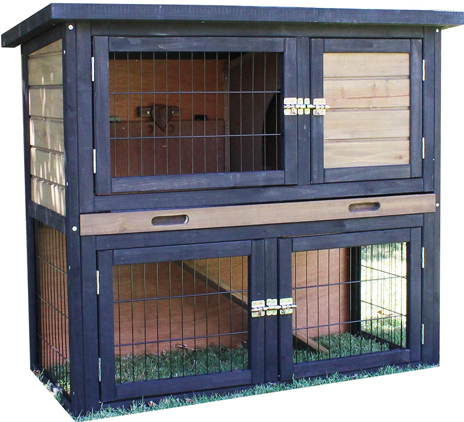 Grey Brunswick Double Story Hutch for Guinea Pigs and Rabbits (Grey)