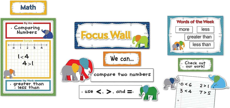 Amazon Com Carson Dellosa Parade Of Elephants Focus Wall Bulletin Board Set 110295 Office Products