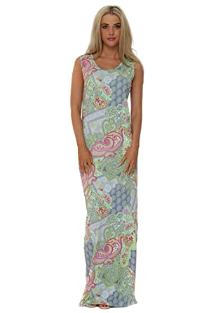 2b3f6f8ccecfea A Postcard From Brighton Izzy Ibiza Print Mojita Split Maxi Dress M L Aqua   Amazon.co.uk  Clothing