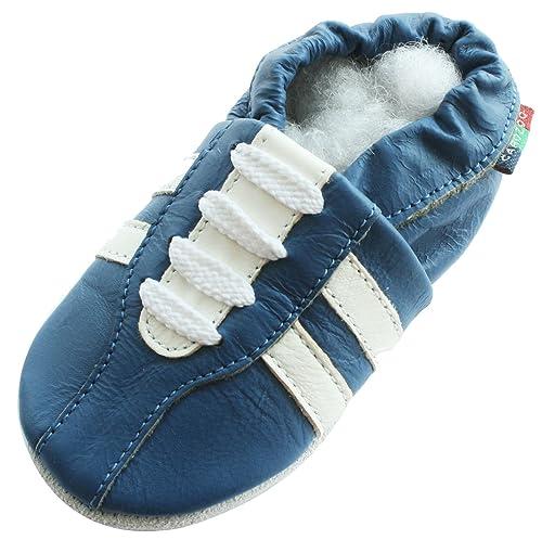 Carozoo - zapatillas azules, de piel, suela blanda, para bebés y niños, talla S: Amazon.es: Zapatos y complementos