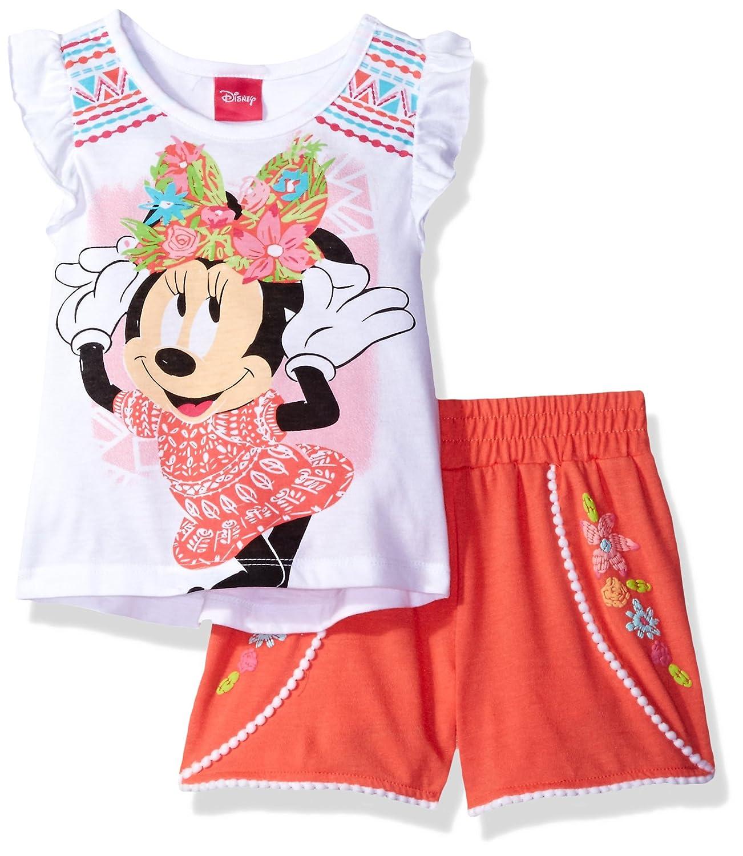 Disney Girls' 2 Piece Minnie Mouse Pom Pom Short Set Orange 6 6ym9863