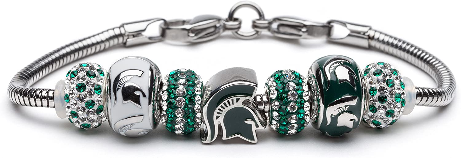 Image of Bracelets Michigan State Bracelet | MSU Spartans Charm Bracelet with 3 Spartan Charms and 4 Crystal Beads | Officially Licensed Michigan State University Jewelry | Michigan State Gifts | Stainless Steel