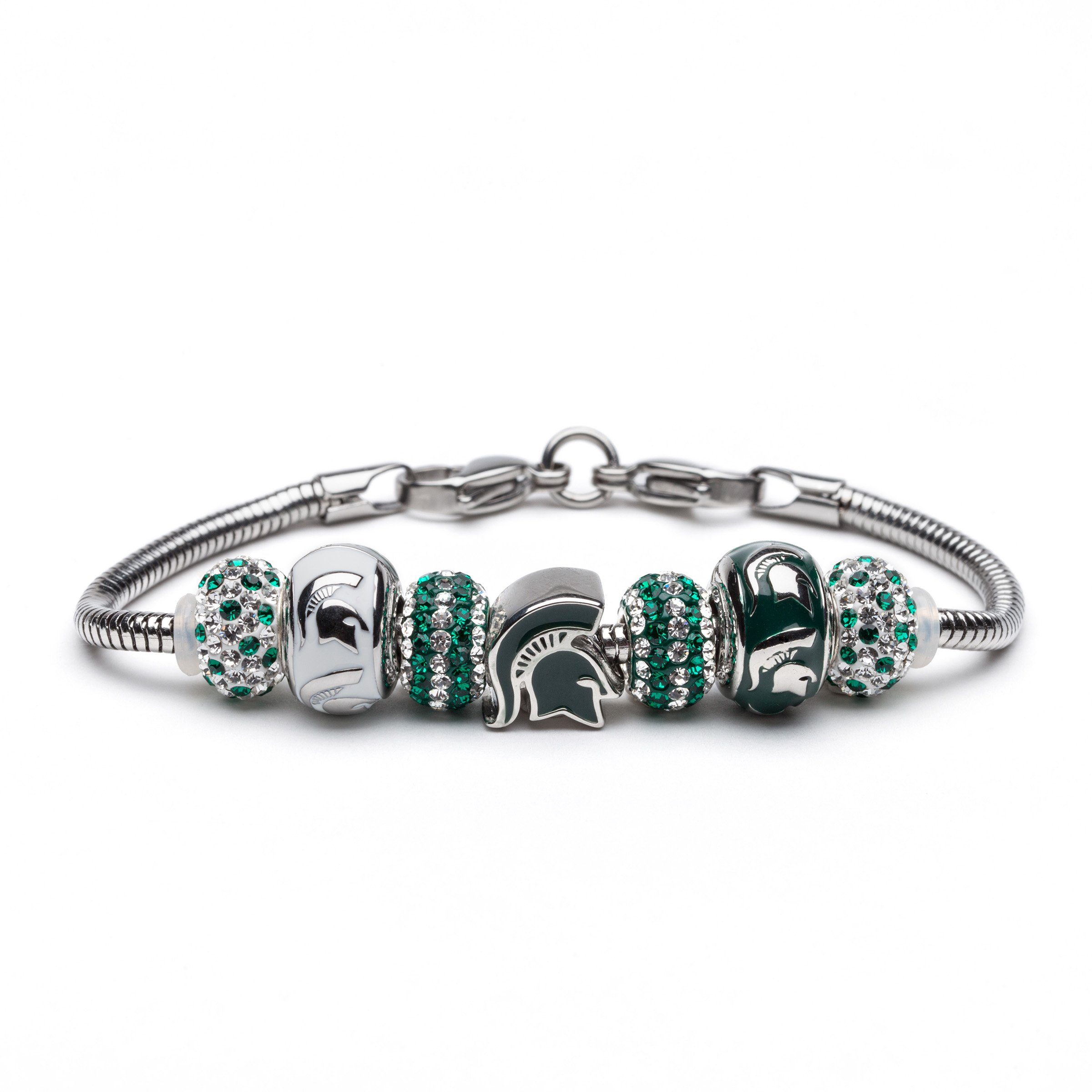 Michigan State Bracelet | MSU Spartans Charm Bracelet with 3 Spartan Charms and 4 Crystal Beads | Officially Licensed Michigan State University Jewelry | Michigan State Gifts | Stainless Steel by Stone Armory (Image #1)