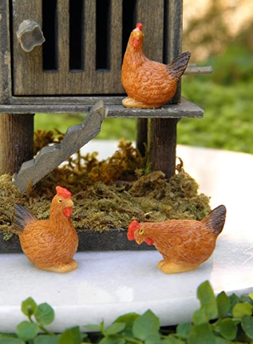 Magic Miniature Dollhouse Fairy Garden Set Of 3 Tiny ½ Scale ~ Brown Hen  Chickens Mini