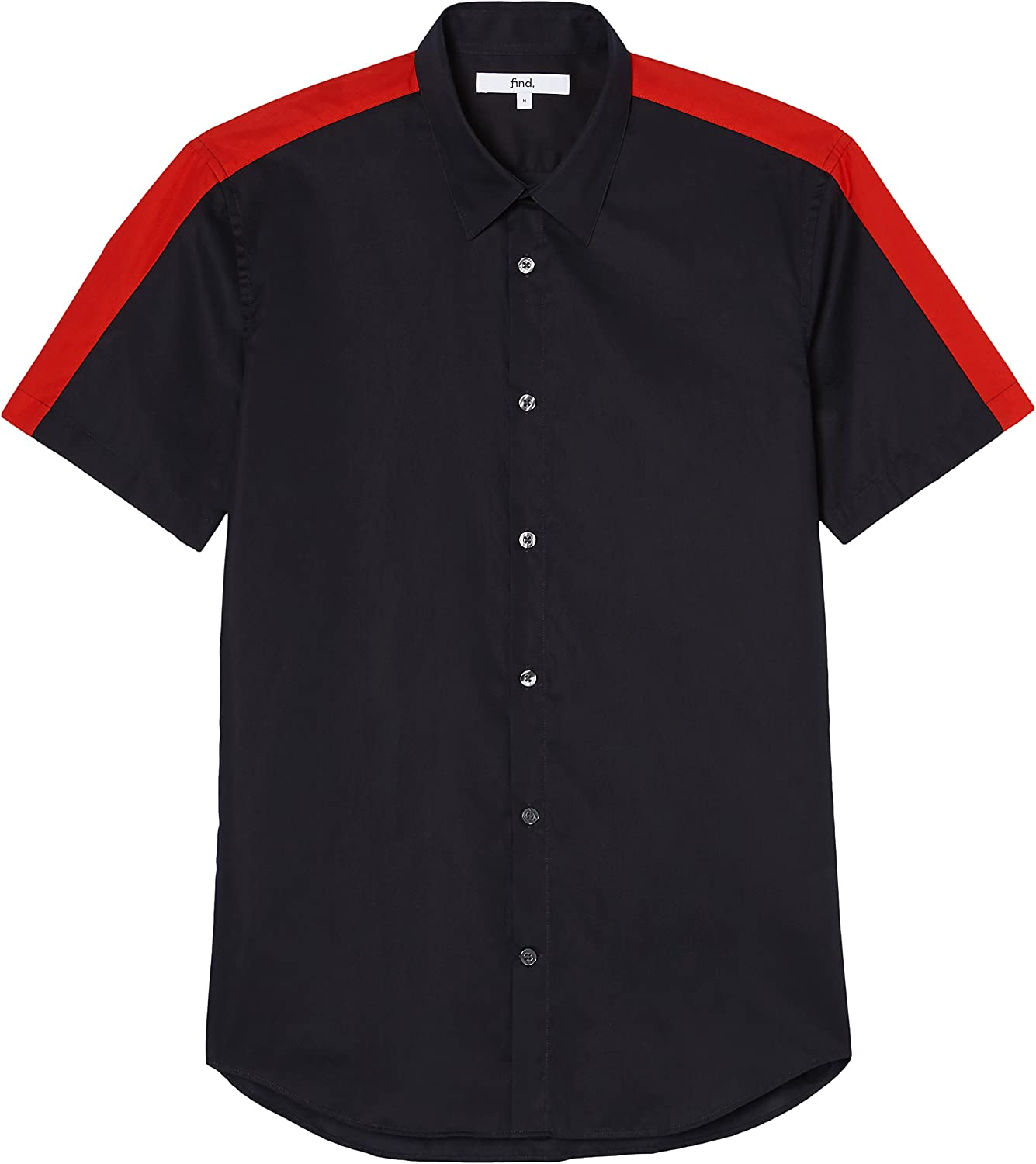 Amazon Brand - find. Men's Short Sleeve Slim Fit Shirt Black