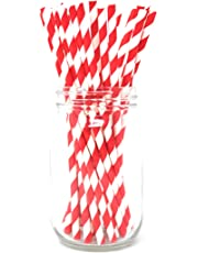 Premium Paper Straws [Pack of 25 Drinking Straws] by Picture Perfect Party (Red Stripes)
