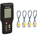 Perfect-Prime TC41, Termometro digital de 4 canales de tipo K Sensor de termopar -200~1372°C/2501°F, 20 x 4 Funcion de almacenamiento de registro de datos (sin abrazadera de tubo)