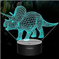 Dinosaurie 3D-nattlampa för barn 16 färger som ändras 3D-optisk illusionslampa med smart touch och fjärrkontroll, för…