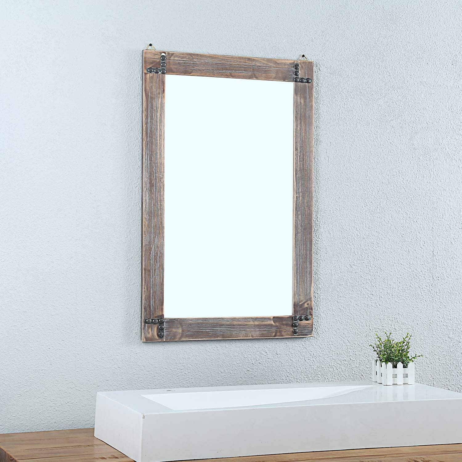 Rustic Wood Frame Hanging Wall Mirror