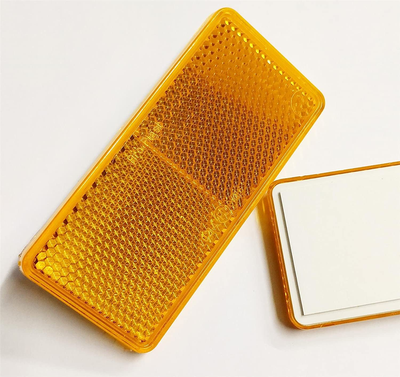 2x Quality Self-Adhesive Amber / Orange Rectangular Trailer Reflectors 90mmx40mm