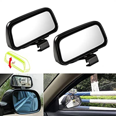 Xotic Tech Blind Spot Mirror, 2 Pcs Black Rectangle Wide Adjustable Angle Convex Clip On Half Oval Rear View Conter Blind Spot Angle Auxiliary Mirrors for Car Truck SUVs Motorcycle: Automotive