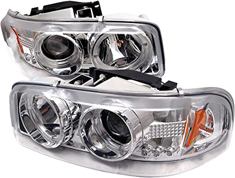 Spyder Auto PRO-YD-CDE00-HL-C GMC Sierra 1500//2500//3500//GMC Sierra Denali Chrome Halo LED Projector Headlight with Replaceable LEDs