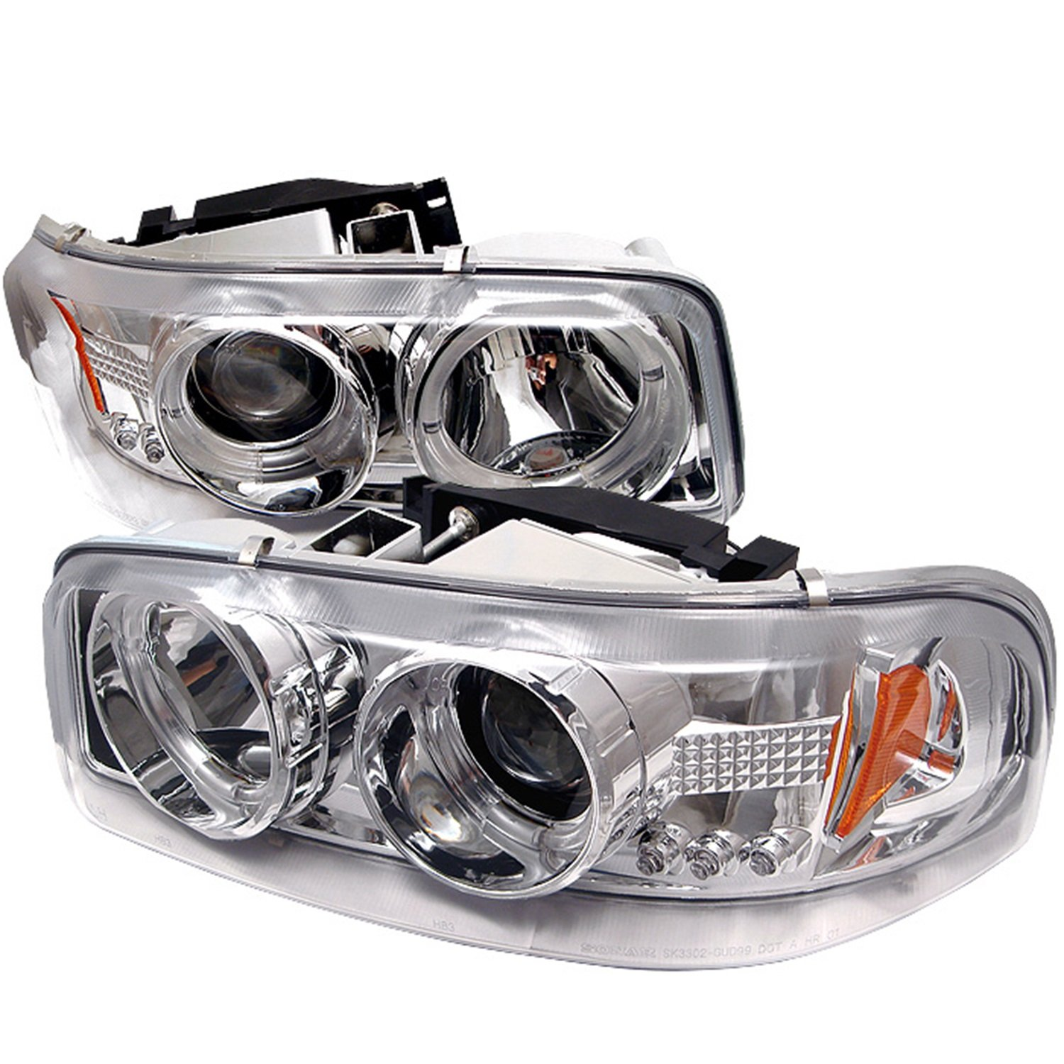 Amazon com spyder auto pro yd cde00 hl c gmc sierra 1500 2500 3500 gmc sierra denali chrome halo led projector headlight with replaceable leds automotive