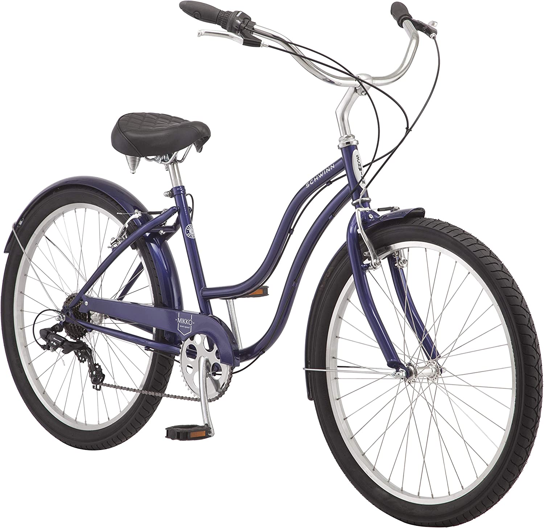 Schwinn Huron and Mikko Adult Beach Cruiser Bike, Featuring 17-Inch/Medium Steel Step-Over Frames, 1-3-7-Speed Drivetrains