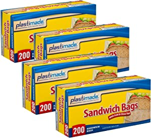 Plastimade Sandwich Bags With Fold & Close Top (6.5 in X 5.5) in 200 Count Pack of 4